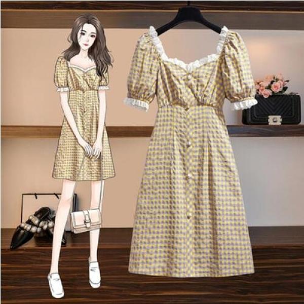 洋裝格子裙方領裙子中大尺碼L-4XL大碼連身裙穿搭胖妹妹法式裙子2F070-8025.皇潮天下