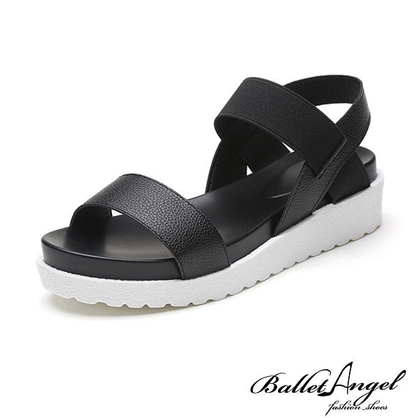 涼鞋 夏日風情一字彈力厚底涼鞋(黑)*BalletAngel【18-810bk】【現+預】