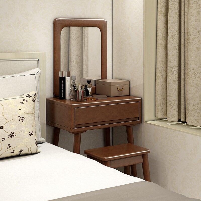 北歐實木梳妝臺網紅Ins小戶型床邊化妝桌臥室現代簡約迷你化妝臺