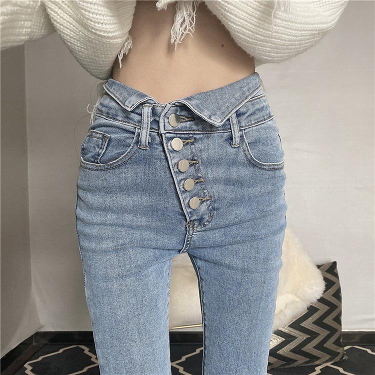 VIVILIAN日系設計感不規則多扣藍色緊身顯瘦小腳牛仔褲