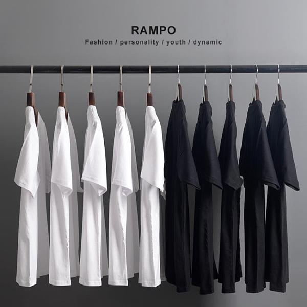 厚實純棉純色短袖T恤男女同款全棉圓領打底衫潮白色半袖