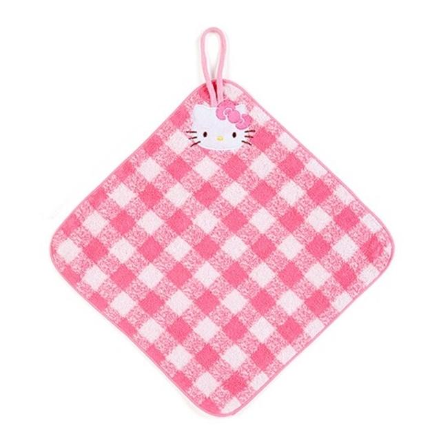 小禮堂 Hello Kitty 可掛式純棉無捻紗擦手巾 吸水毛巾 擦手毛巾 方巾 27x27cm (粉 格紋)
