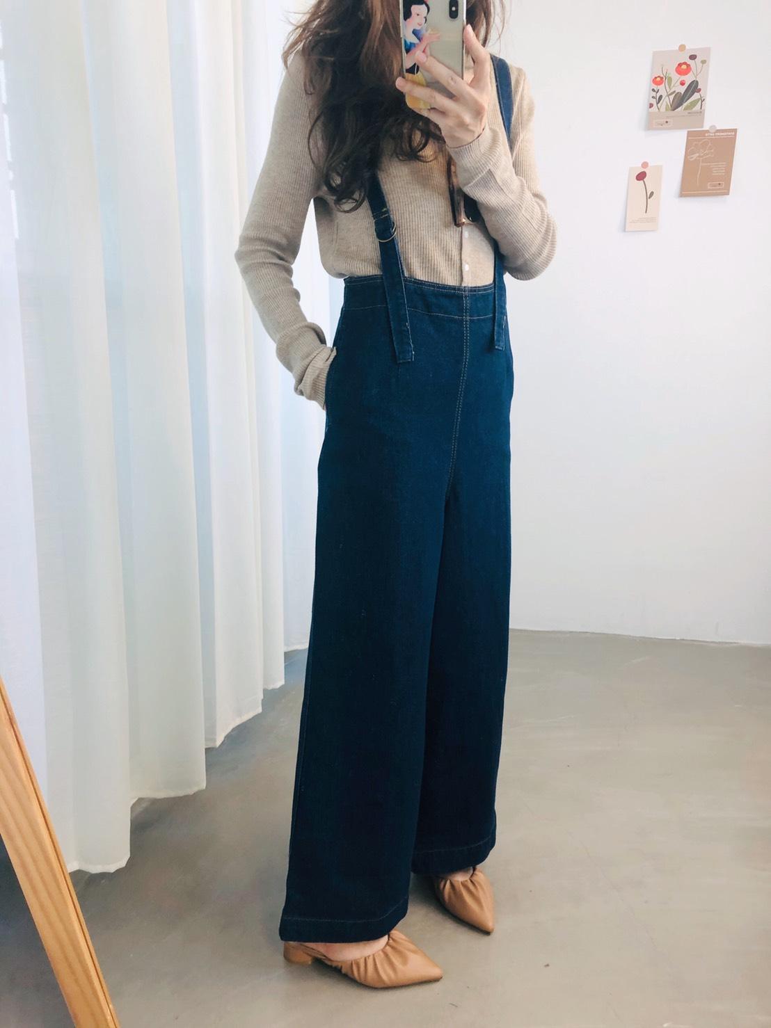 【missy shop】日本 熹微晨光牛仔吊帶褲-ah40022
