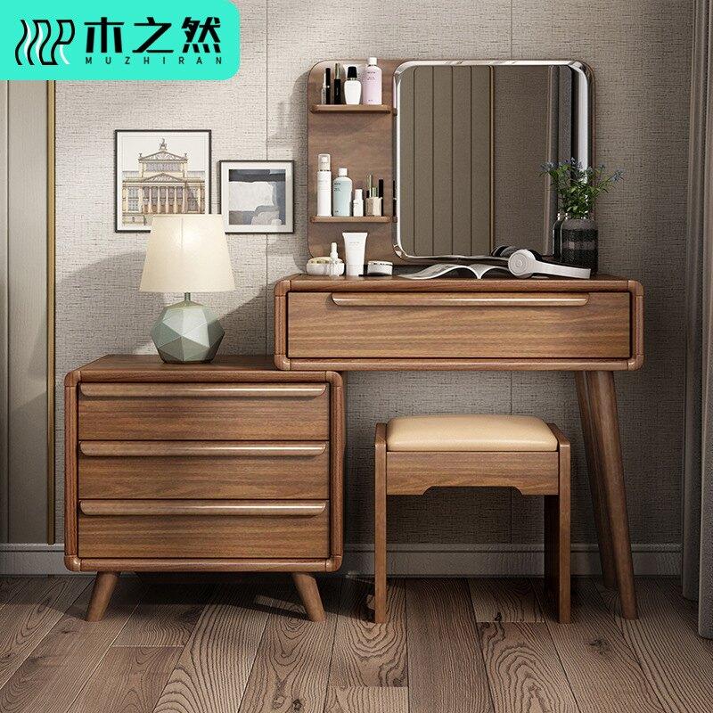 北歐簡約實木梳妝臺臥室可伸縮化妝柜小戶型收納網紅ins化妝臺