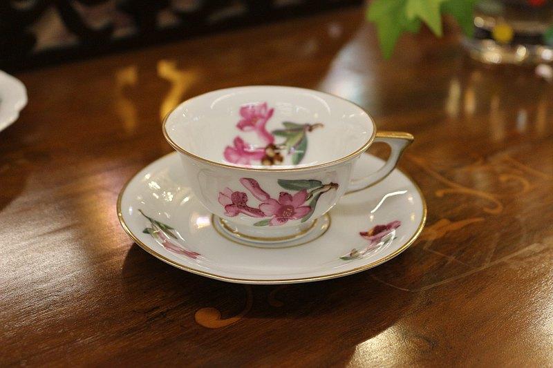 英國H&C Selb金邊花卉咖啡杯盤組