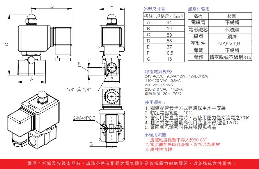 二口二位精密脫蠟不鏽鋼316常閉式電磁閥