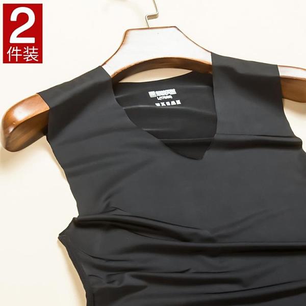 2件裝!男士冰絲無痕背心潮牌無袖T恤修身型夏季健身運動緊身青年