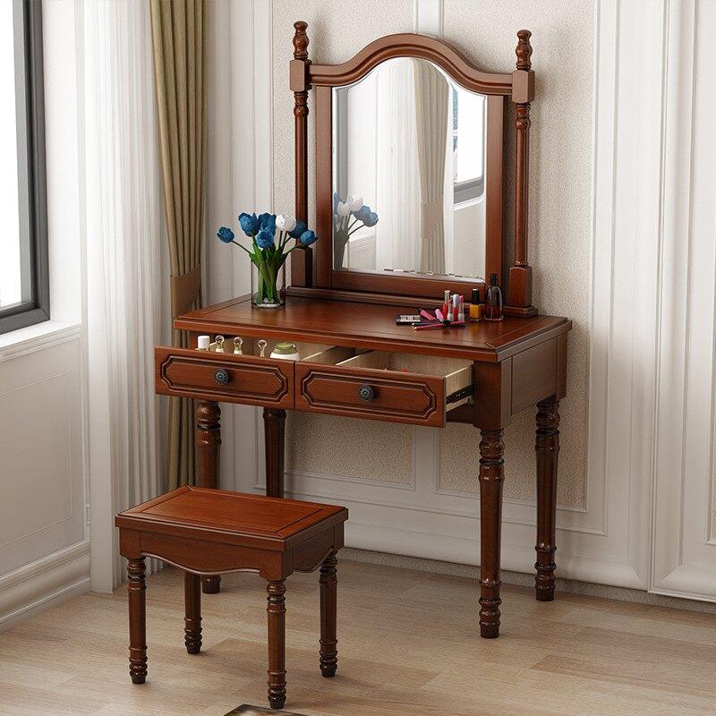 美式實木梳妝臺現代簡約高級灰臥室歐式輕奢小戶型化妝桌子梳妝桌