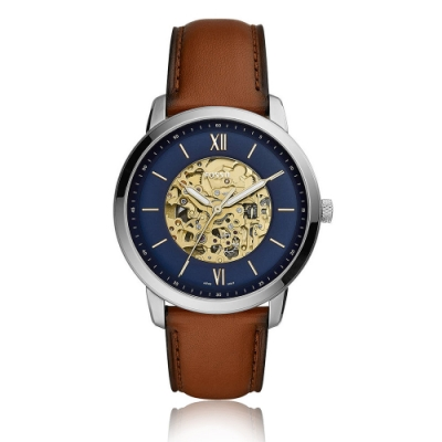 FOSSIL 御頂達觀雙面鏤空機械腕錶(ME3160)-藍/44mm