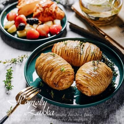 Homely Zakka 北歐輕奢風祖母綠陶瓷餐具_小圓平盤20cm