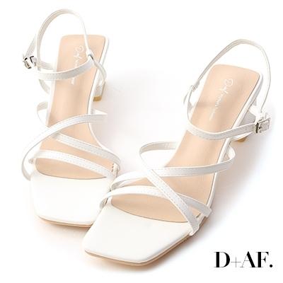 D+AF 優雅品味.層次感細帶中跟涼鞋*白