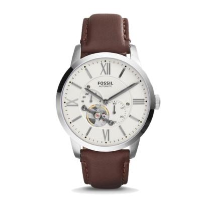 FOSSIL 尊爵上品鏤空自動上鍊機械皮革手錶(ME3064)-米白/44mm