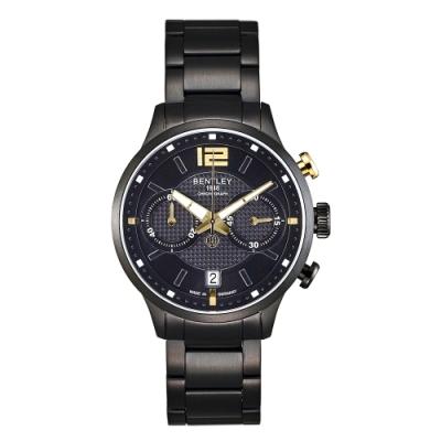 Bentley 賓利 SKYLINE系列 都會時尚計時手錶-黑x金/42mm