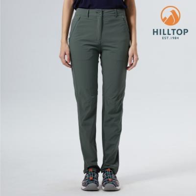 【hilltop山頂鳥】女款吸濕快乾抗UV彈性戶外休閒長褲S07FK2綠