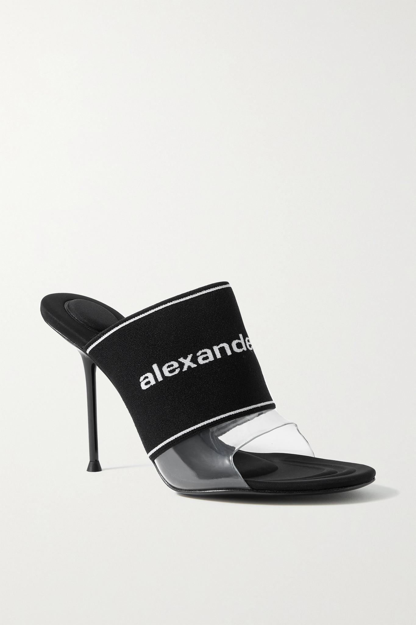 ALEXANDER WANG - Sienna 品牌标志提花弹力针织 Pvc 穆勒鞋 - 黑色 - IT39