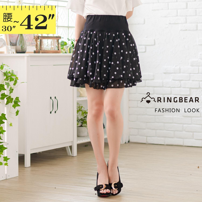 裙子--氣質女人味寬版鬆緊收腰圓點印花設計附安全褲雪紡短裙(黑L-3L)-Q118眼圈熊中大尺碼