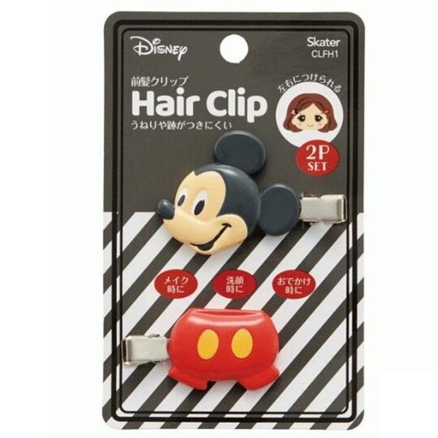 小禮堂 迪士尼 米奇 造型塑膠鐵髮夾 玩偶髮夾 瀏海夾 小髮夾 (2入 黑 大臉)