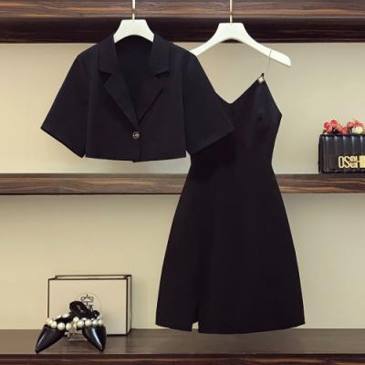 黑色西裝短外套+細肩帶連身裙二件組L-4XL-KVOLL