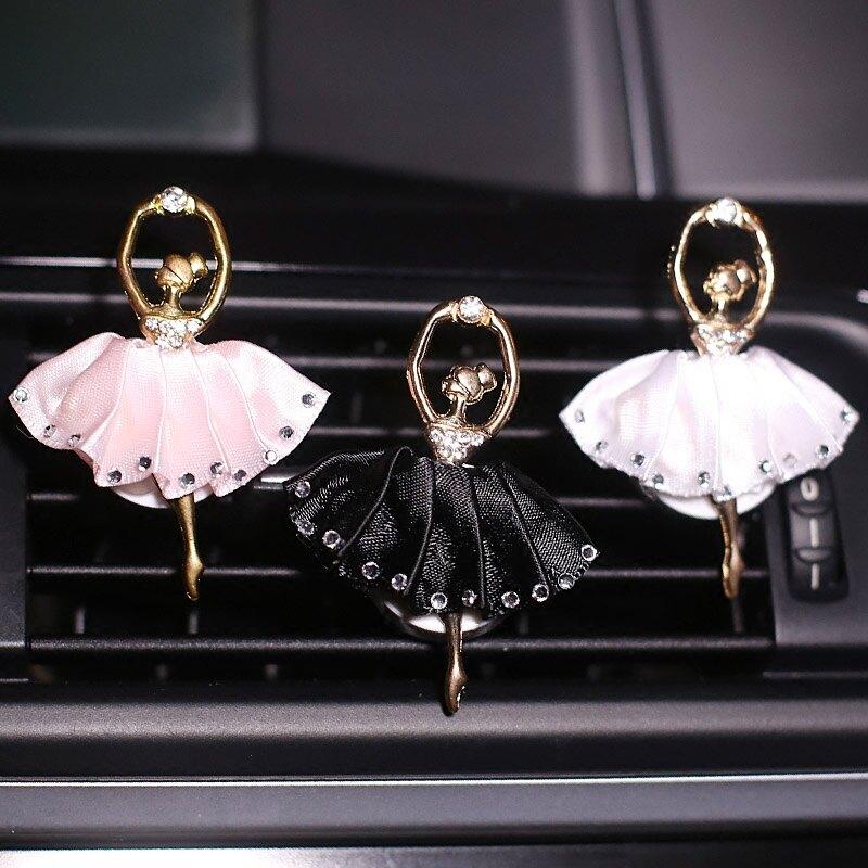 汽車擺件可愛鑲鉆芭蕾女孩汽車出風口裝飾車載車內香水香薰女神款
