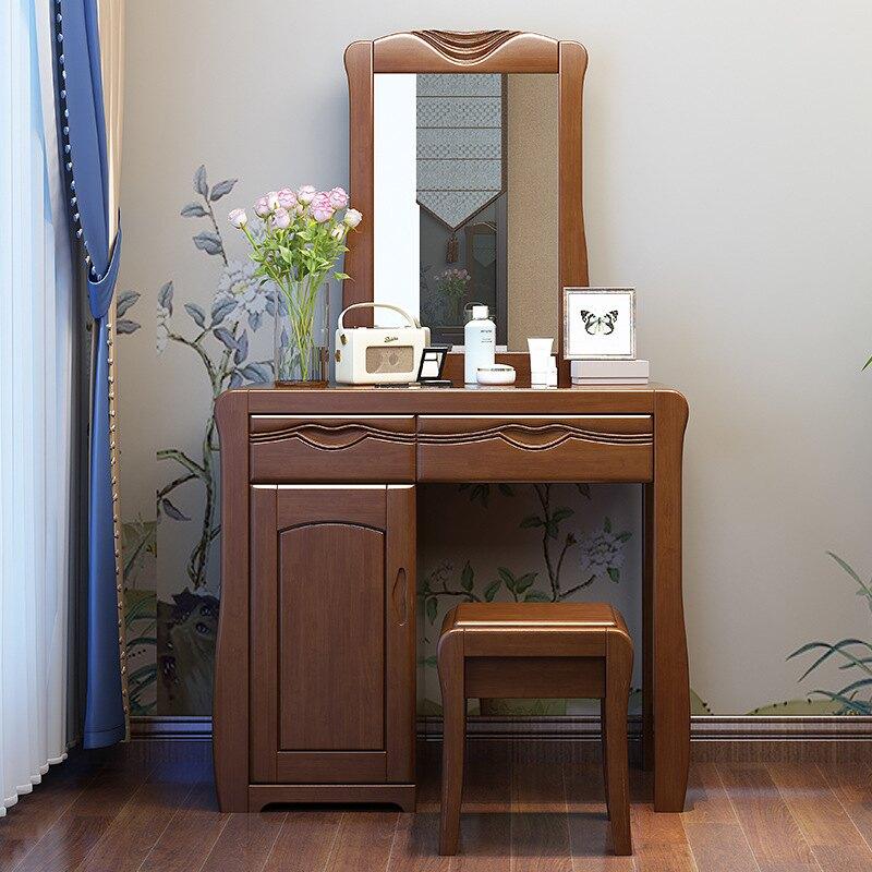 新中式橡膠木梳妝臺臥室簡約實木妝臺梳妝桌現代多功能化妝臺