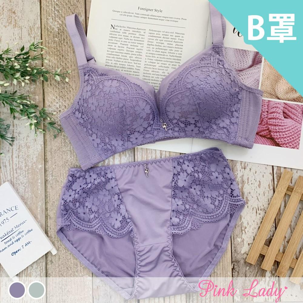 Pink Lady 【B罩杯】情緋花舞 無鋼圈爆乳款內衣 成套內衣2566(紫色、綠色)