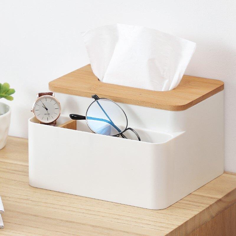 面巾盒/面紙盒 多功能客廳茶几桌面遙控器收納盒分格塑料辦公桌竹木抽紙盒化妝品『XY16371』