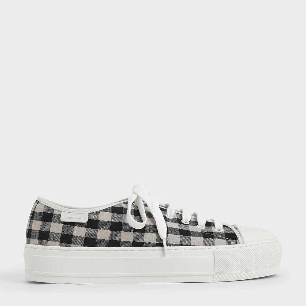 格紋厚底休閒鞋