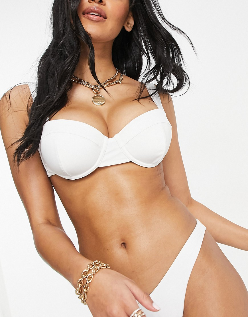 ASOS DESIGN fuller bust recycled mix and match underwired balconette bikini top in white