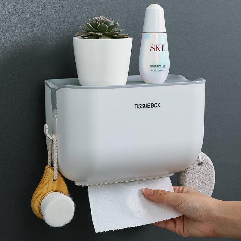 衛生間紙巾盒 衛生間浴室衛生紙盒紙巾廁紙置物架家用免打孔廁所防水抽紙卷紙筒