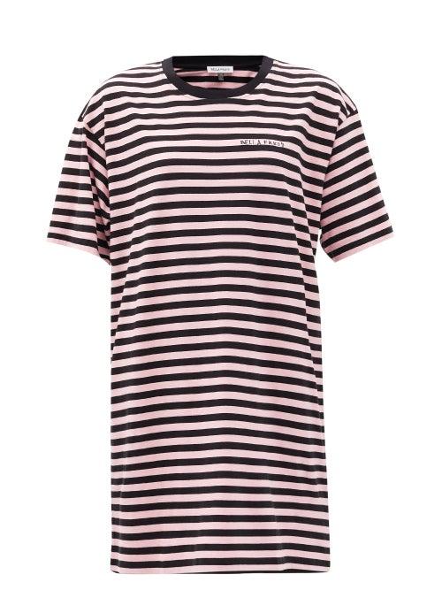 Bella Freud - Striped Organic-cotton Jersey T-shirt Dress - Womens - Black Pink