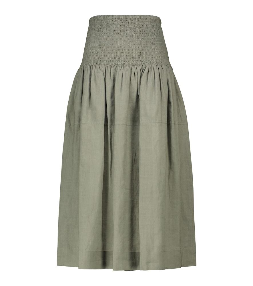 Senzo smocked ramie midi skirt