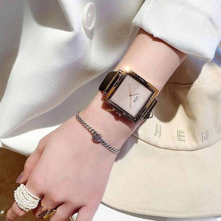 歌迪時尚真皮錶帶復古方形防水學生氣質潮錶女士手錶女Ins 全館八五折