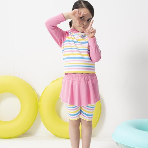 sarbis女童兩截式長袖防曬泳裝 泡湯專用附泳帽b822005