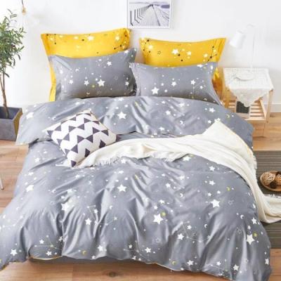 A-ONE 雪紡棉 雙人床包/枕套三件組-星星願望