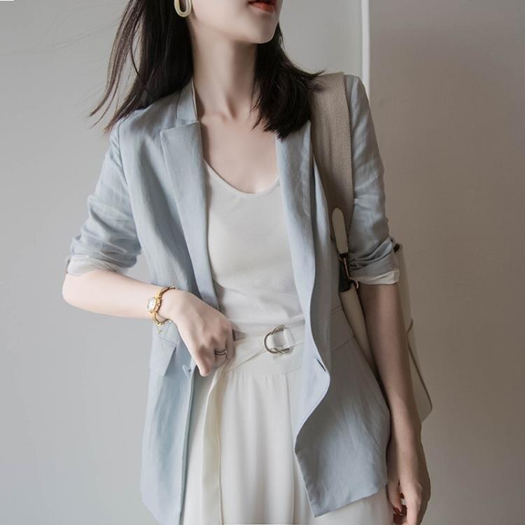 棉麻西裝 七分袖棉麻小西服女夏季韓國亞麻短款小個子西裝外套上衣-莎韓依