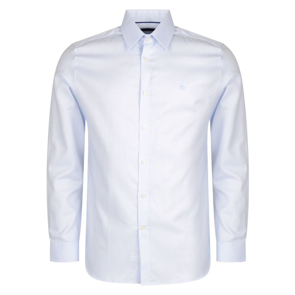 Magee 1866 Blue Formal Micro Design Dress Collar Tailored Fit Shirt