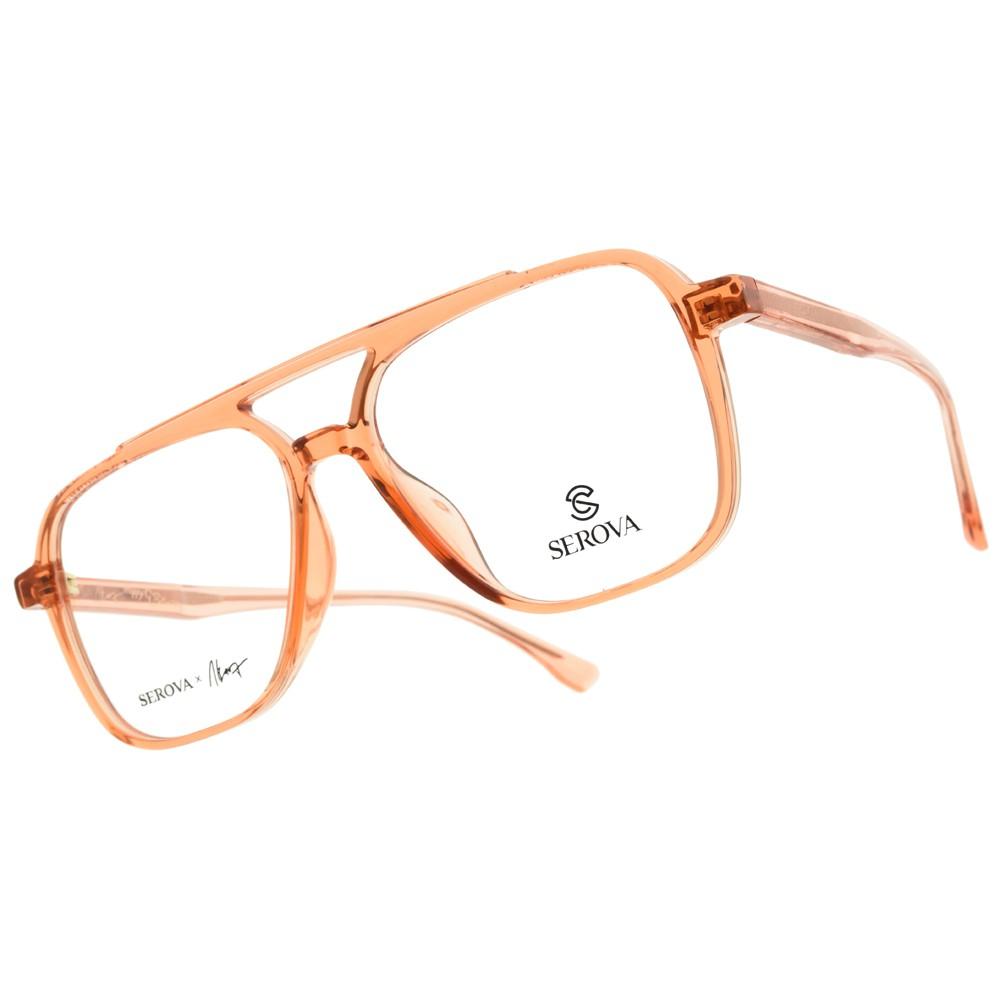 SEROVA 光學眼鏡 SL824 C19 (透橘) 潮流雙槓飛行款 張若昀同款 -金橘眼鏡