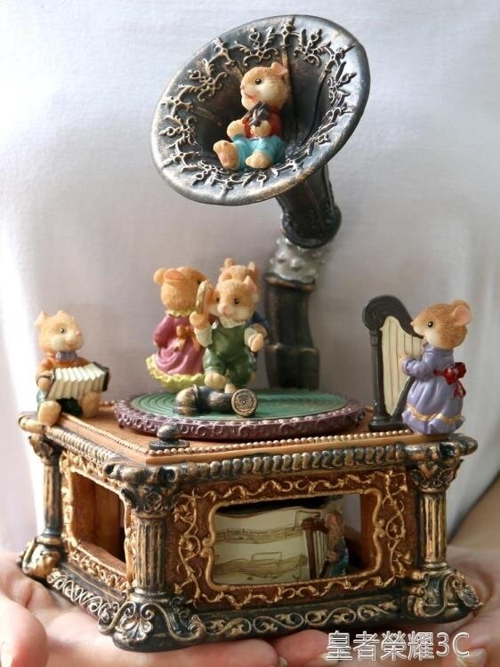 音樂盒 老鼠復古留聲機擺件天空之城音樂盒八音盒歐式浪漫生日禮物送女生