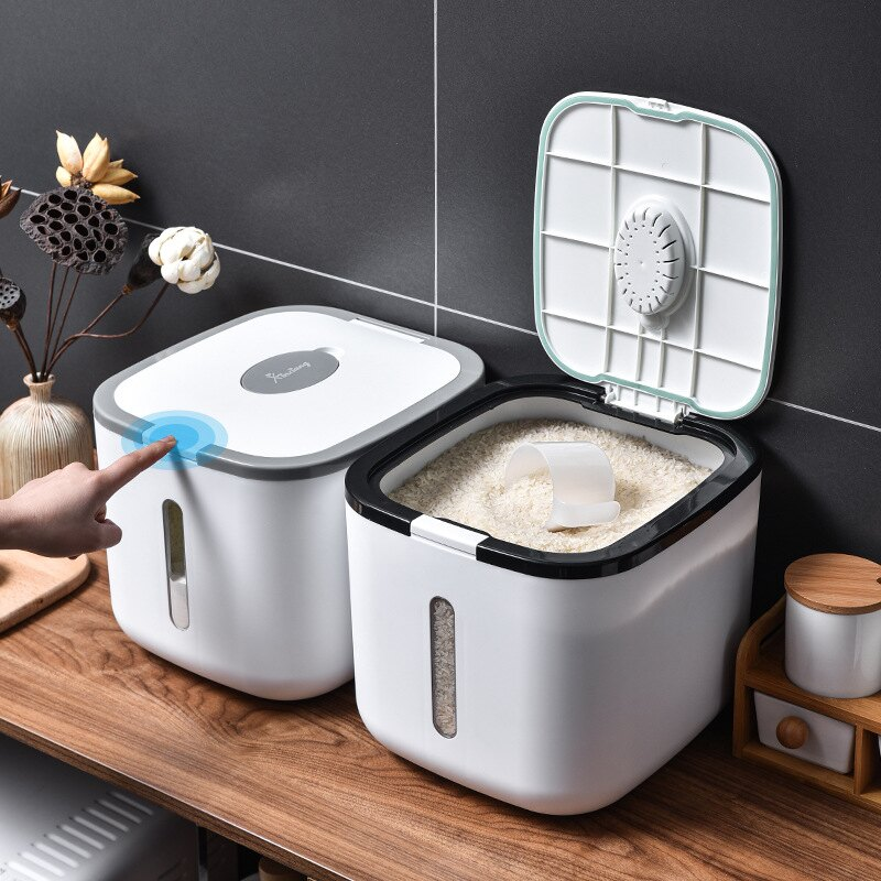 廚房按壓式裝米桶家用密封米箱20斤裝米缸面粉儲存罐防蟲防潮收納