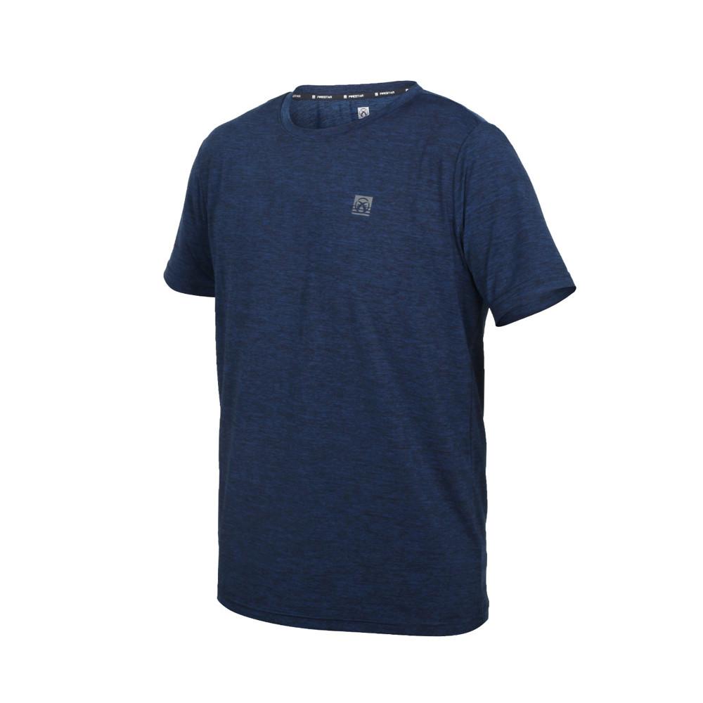 firestar 男彈性機能圓領短袖t恤-涼感 慢跑 路跑 運動 上衣 反光 丈青銀