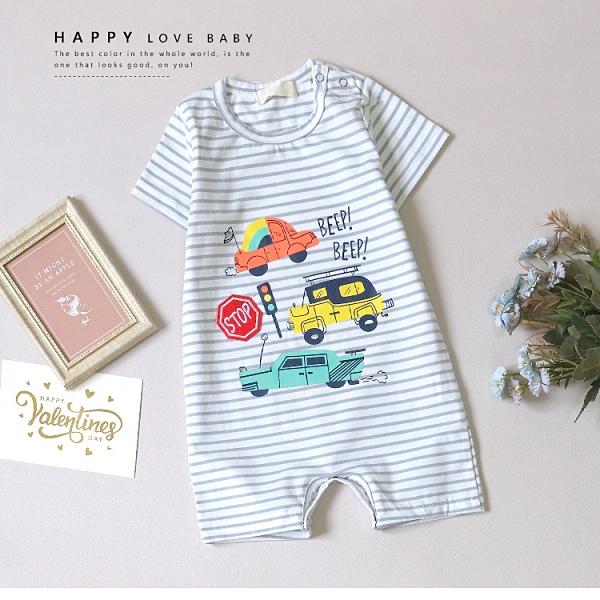 寶寶 可愛汽車條紋包屁衣 春夏童裝 寶寶短袖 寶寶連身 寶寶包屁衣