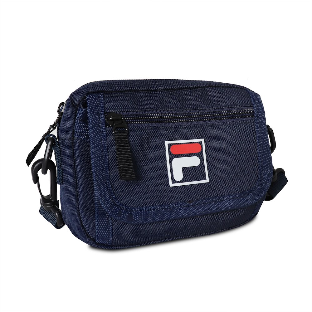 FILA 斜背包 Crossbody Shoulder Bag 斐樂 外出 小包 穿搭 背帶可調 輕便 藍 白 [BMV3018NV]