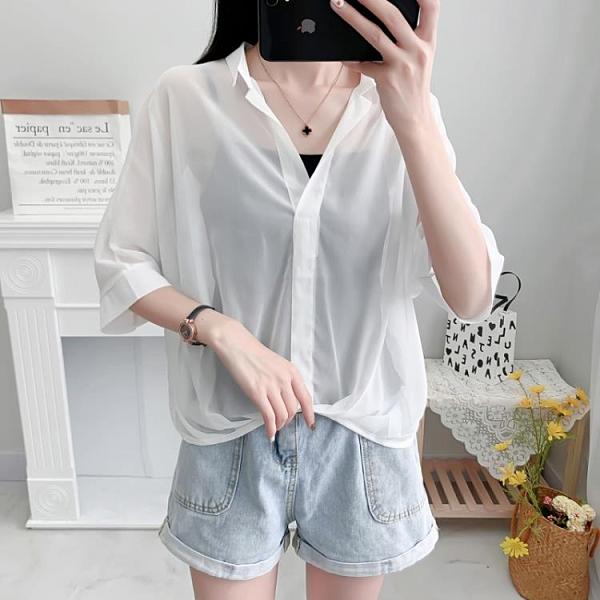 白色雪紡襯衫女夏裝2021新款設計感小眾洋氣短袖上衣V領氣質小衫 黛尼時尚精品