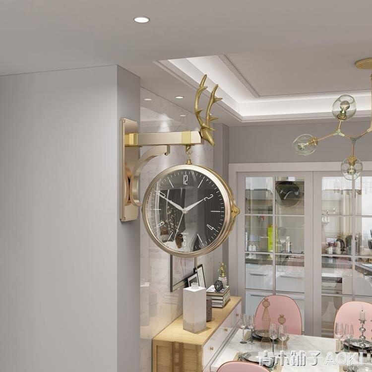 北歐雙面現代簡約輕奢大氣鐘表掛鐘時尚客廳家用個性創意石英掛表