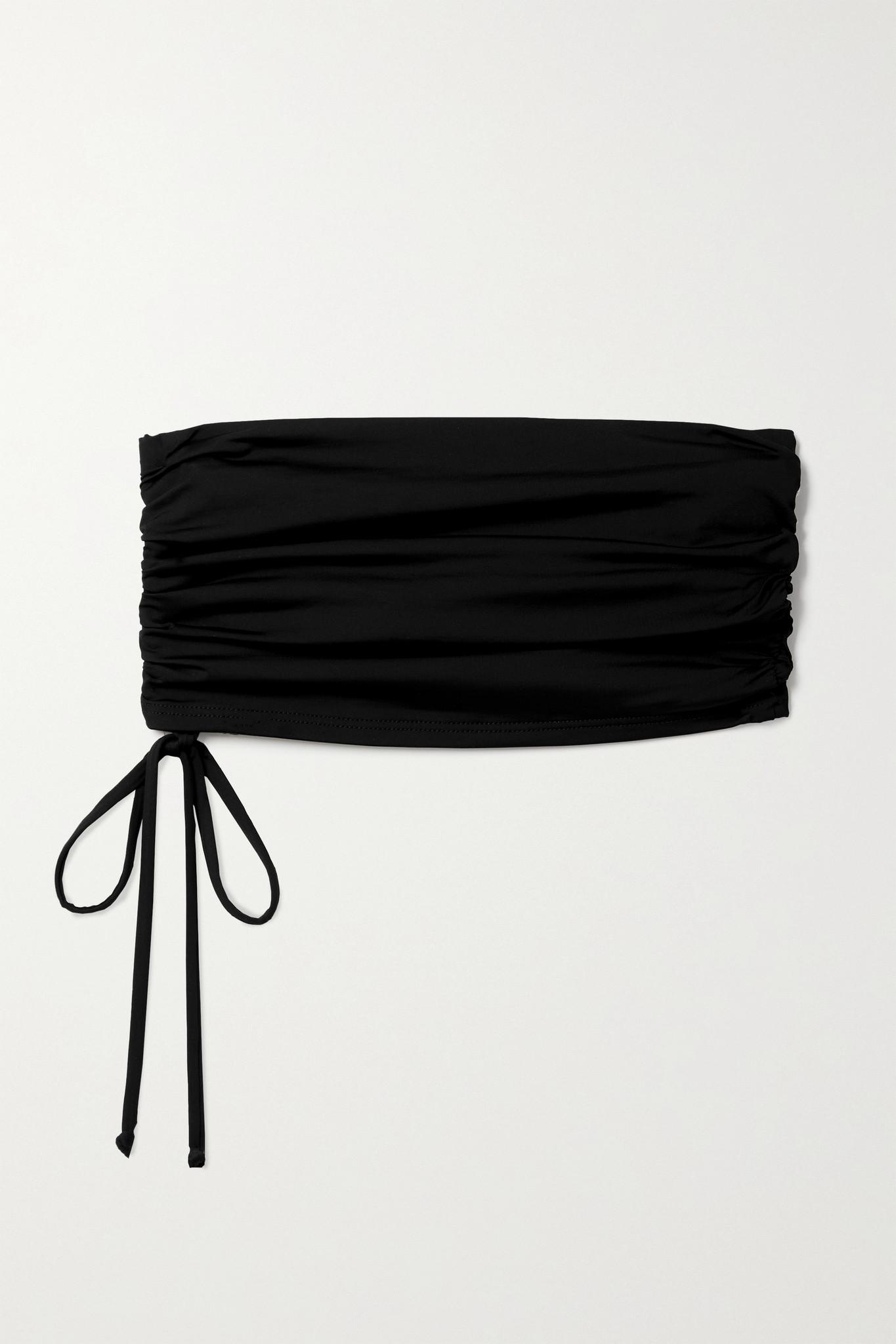 BONDI BORN - 【net Sustain】 Rainey 褶饰抹胸比基尼上装 - 黑色 - UK8