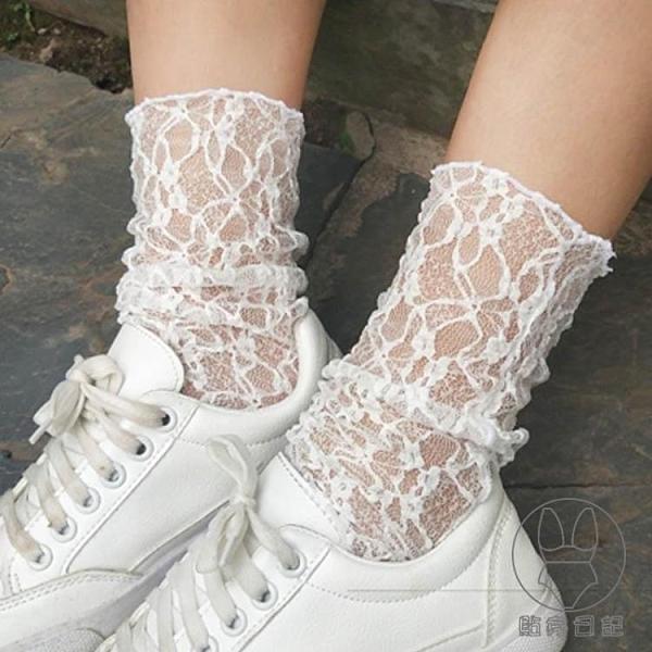 2雙裝 蕾絲襪子女韓版復古鏤空透視網格襪日系性感百搭中筒堆堆襪【貼身日記】
