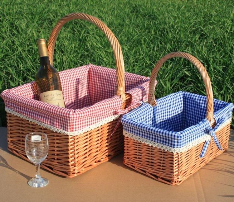 新品藤柳編野餐籃 手提籃 購物籃 戶外 花籃 禮品包裝籃 水果籃子