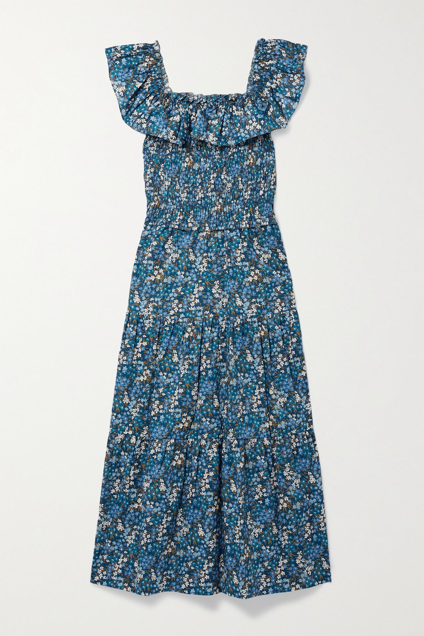 SEA - Lissa Liberty 荷叶边花卉印花纯棉巴里纱中长连衣裙 - 蓝色 - x small