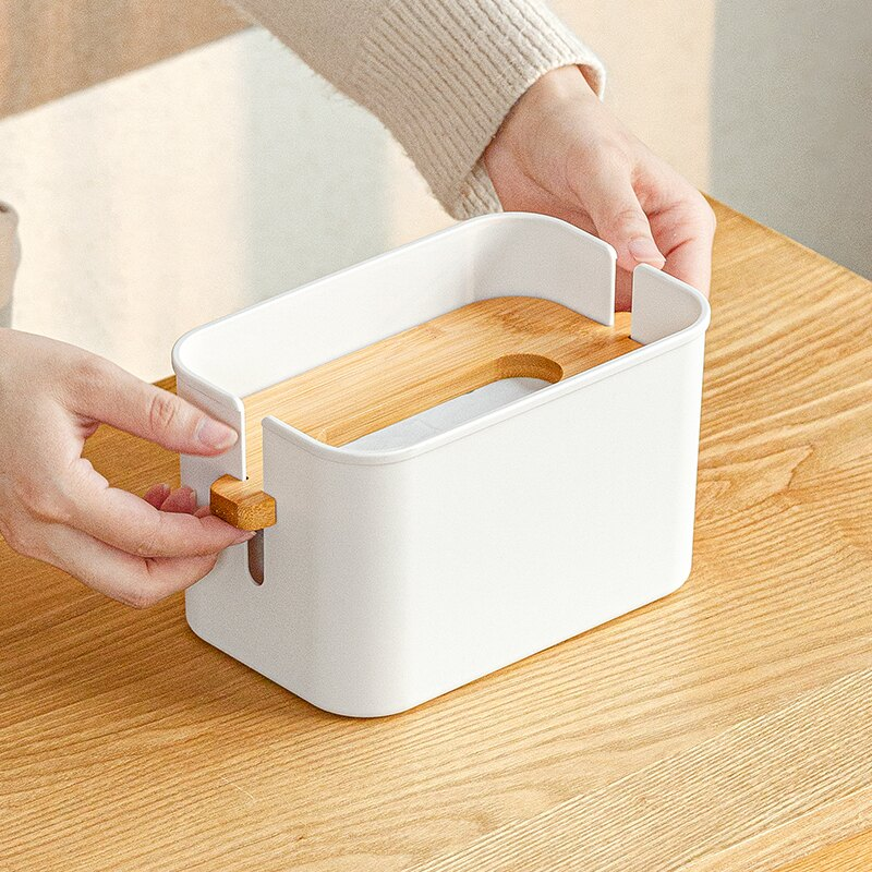 面巾盒/面紙盒 日式桌面紙巾盒客廳茶几網紅抽紙盒多功能臥室餐廳升降擦手紙收納『XY16357』
