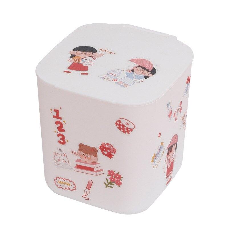 桌面垃圾桶帶蓋小巧小紙簍可愛少女家用臥室客廳桌上迷你收納桶